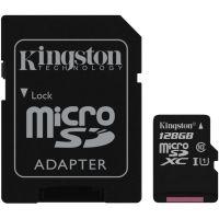 Карта памяти Kingston 128Gb microSDXC UHS-I +SD-adapter (SDCS/128Gb)