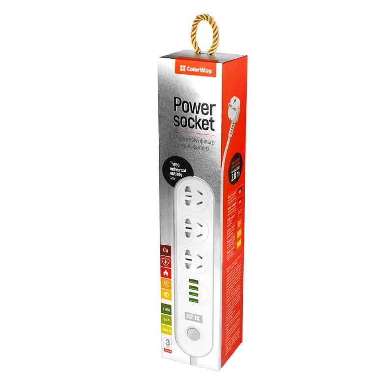 Мережевий фільтр-подовжувач СolorWay 3 розетки/4USB 2M (CW-CHU34W) White купить