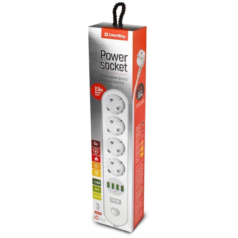 Сетевой фильтр-удлинитель СolorWay 4 розетки/4USB 2M (CW-CHE44W) White купить