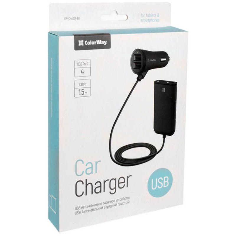 Автомобільний зарядний пристрій Colorway 4xUSB 4.8А + кабель 1.5m Black