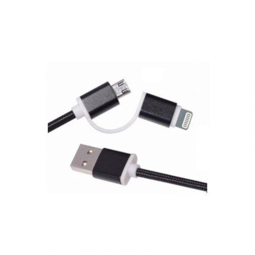 Кабель ColorWay 2 в 1 Lightning+microUSB (CW-CBU2001-BK) Black купить