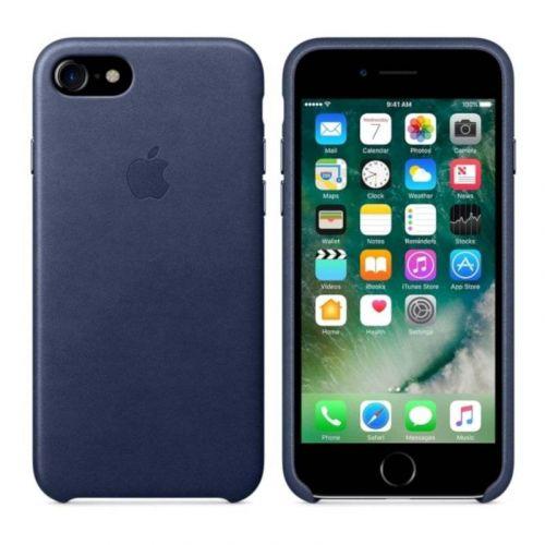 Чехол Apple Leather Case для iPhone 8/7 (Midnight Blue)