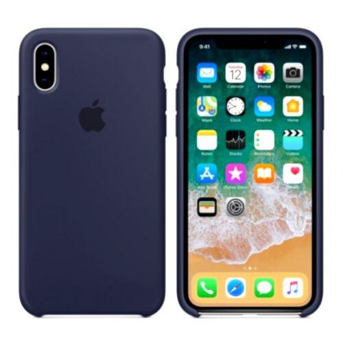 Чехол Apple Silicone Case для iPhone X (Midnight Blue)