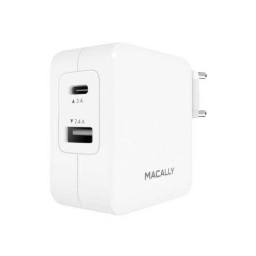Сетевое зарядное устройство Macally Wall Charger Usb 2.4A USB-C 3A (HOME24UC-EU) White