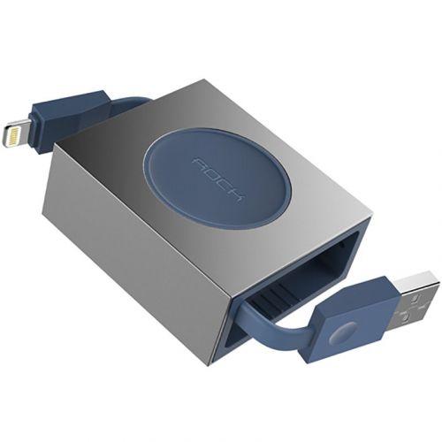 Кабель Rock Lightning Retractable 0,8M Blue