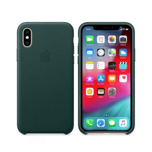 Чехол Apple Leather Case для Apple iPhone XS (Forest Green)