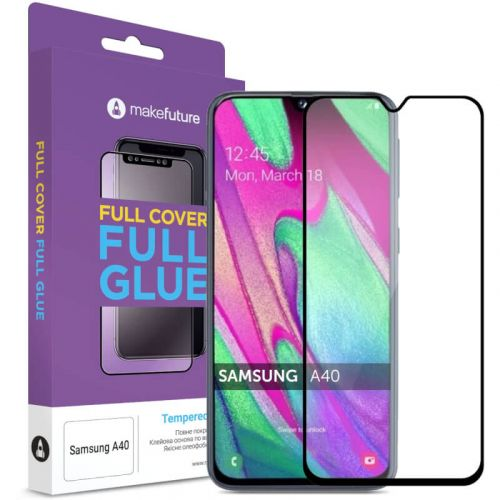 Защитное стекло MakeFuture Full Cover Full Glue для Samsung Galaxy A40 (Black)